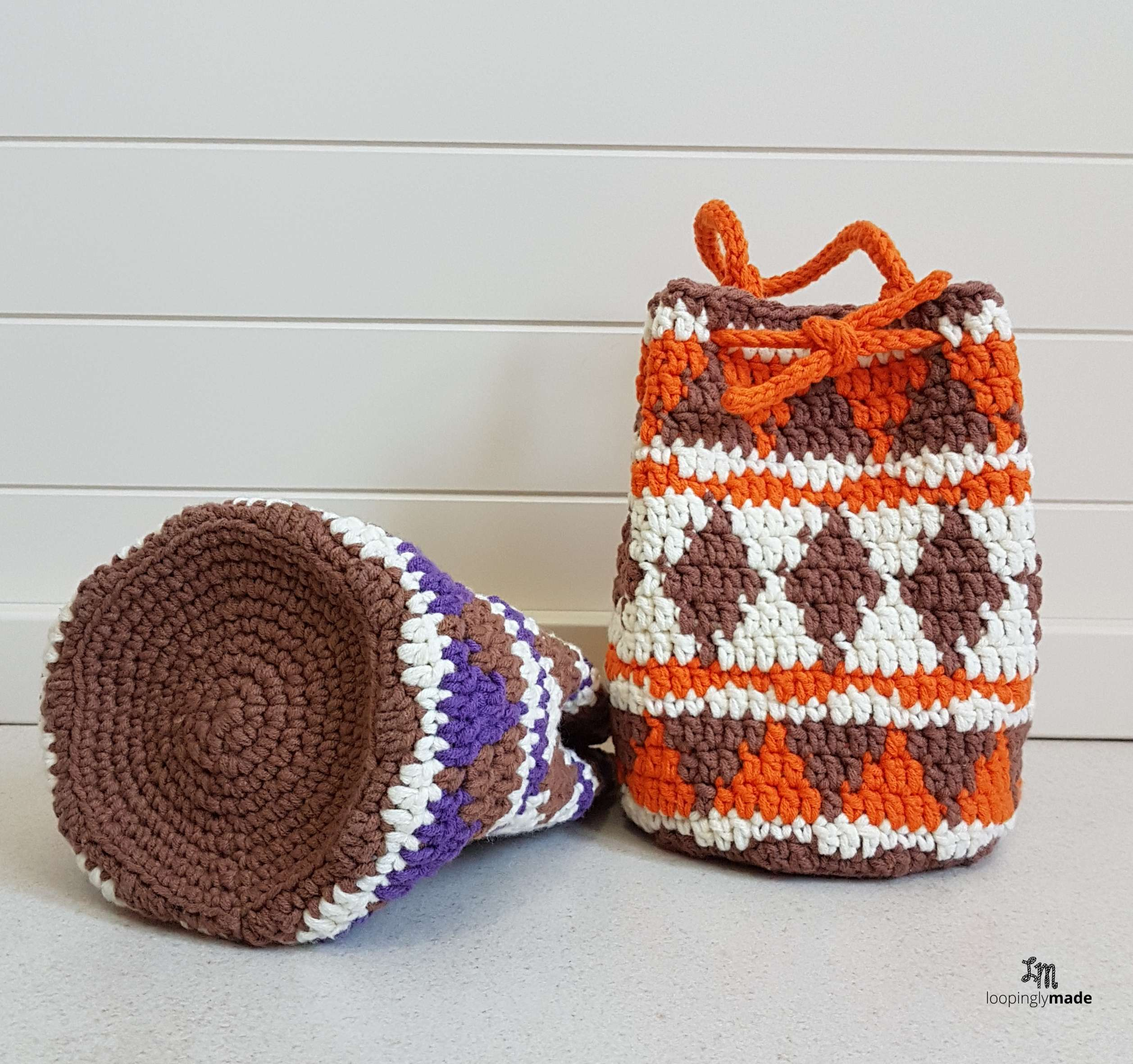 Native Print Drawstring Bag- Free Crochet Pattern
