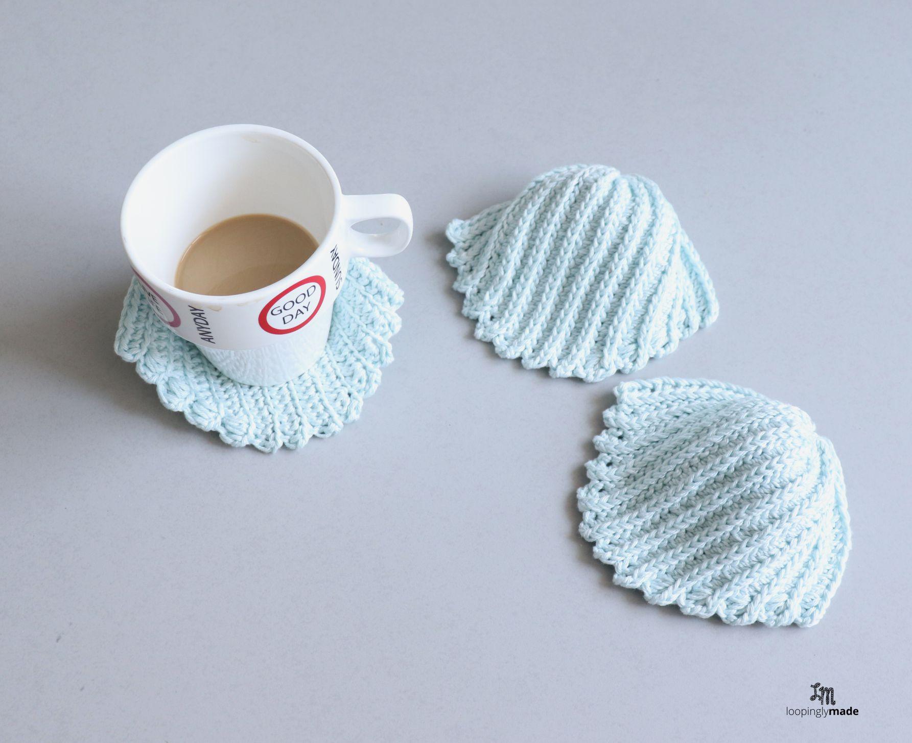 Easy Sea Shell Crochet Coasters Free Pattern Crochet Pattern