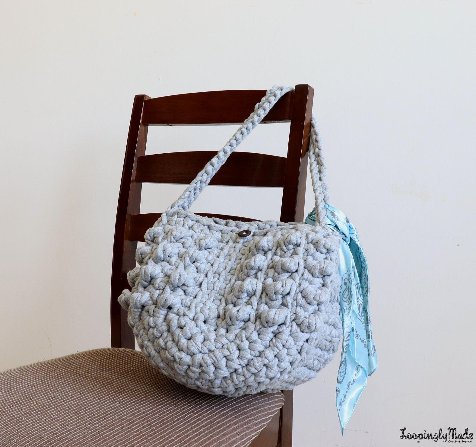 Chunky T Shirt Crochet Tote Free Pattern