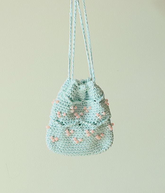 Beaded Mini Crochet Drawstring Pouch Free Pattern